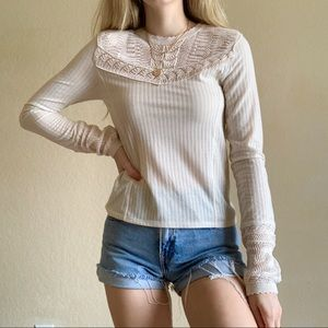 Free People creme knitted detailed cuff top